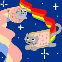 Nyan Cat and Doughnut Kitty by CrypticGrin