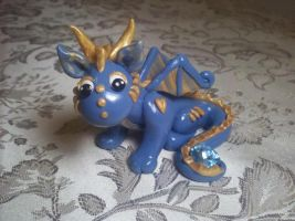 Polymer Clay Dragon blue and gold by Valtira