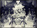 Busby Berkeley Dancers-Black And White by FlapperFoxy