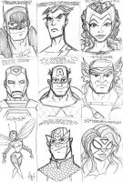 Avengers Sketch Cards by tyrannus