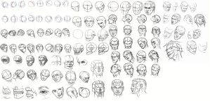 Head Sketch Dump - Daily Practice by Olooriel