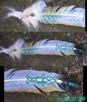 Celtic Winged Werewolf Feather by Draikairion