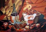 Grape, apples and wine by bazaroff
