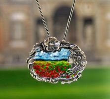 Art Necklace Poppies and Tree by NancyvandenBoom