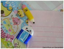 Pencil and Eraser Charms by Demi-Plum