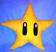Hand Made Mario Star Pillow by KellyCurly