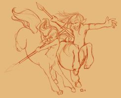 Fighting Centaurs by StressedJenny