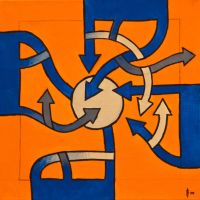 Tiled Painting 1 :orange and blue: - Top 1 by AlexFlorezArt