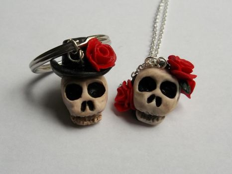 His and Hers Skull Accessories Set- Polymer Clay by CraftMuse