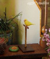 Ooak Handmade Miniature Yellow Canary Bird 1:12 by AGZR-STUDIOS