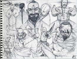 Wushu Pen Sketches by nickybeats