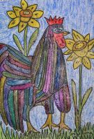 shining rooster in spring by ingeline-art