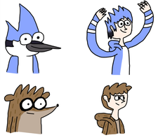 Mordecai and Rigby human boys by karlix-the-wiz
