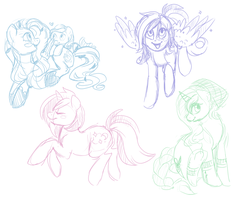 Ponyfriends sketchies! by NoxxPlush