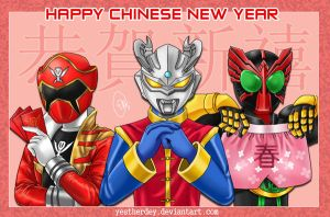 Tokusatsu CNY Greeting by YestherDey