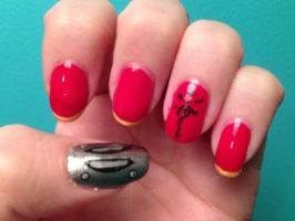 Edward Elric Inspired Nail Art by KittyKax33221