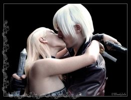 Kiss - Dante and Trish by BloodyLala