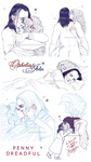 OpheliaxJohn Lovers Sketches 4 by RedPassion