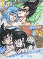 Goku Chichi-Vegeta Bulma sleep by StarbearerTM