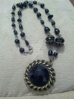 Black glass and antiqued brass 2 by TinkersTreasury