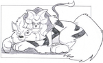 Thank You Sketch 01 - Arcanine and Pyroar by Jaebird88