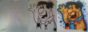 Fred Flintstone Airbrush by StephanieCassataArt