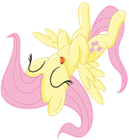 Fluttershy lying on back laughing by transparentpony