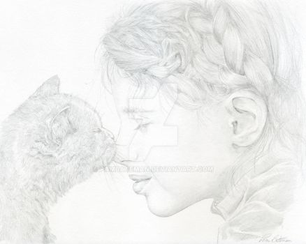 girl and cat by PamBateman