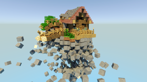What physics do on a flying minecraft house by Terraben