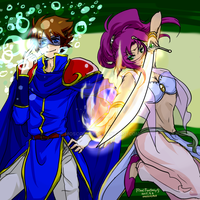 FF5_BlueMage-Batz_and_Dancer-Faris by moscosmo
