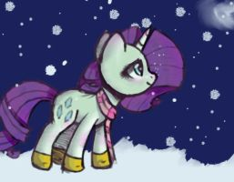 First snow day (Rarity) by Brushelle