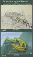 Golden-green dragon: 5 years after by WalesDragon-2012