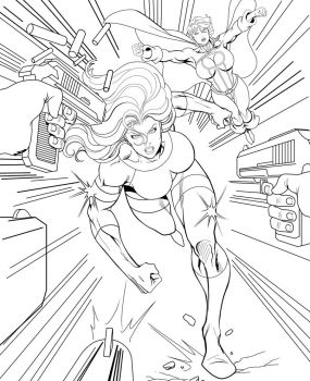 She-Hulk and Power Girl - Lineart by OrionPax09