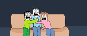 Sam, Mike, and Mary watching a scary movie by tigerclaw64