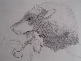 Wolfess and Pup Commish. WIP by Feanor-the-Dragon