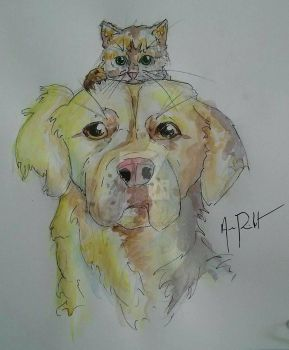 Watercolor Dog and Kitten by Lt-Silverthorn