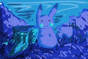 Pikachu Color Practice (Cool Colors) by Projectile-Vomiting