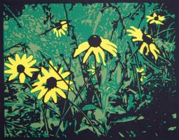 Floral Fireworks Green Small by rschuch