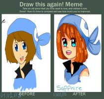 Saphire Draw this again meme by musicandsketches