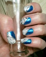 Metallic Turquoise with Tiger Stripe Stamp by M-Everham