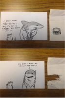 Land Shark Index Card Comic by RobtheDoodler