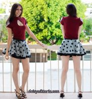 Red Shirt and Polka Dot Skirt by DaisyViktoria