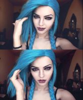 Cosplay makeup Jinx from League of Legends by xAndrastax
