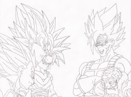 Request. Z fighters vs Majin Bardock by superheroarts