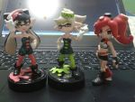 Squid sisters amiibo + Octoling by Gregarlink10
