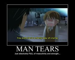 Junjou Romantica Motivational Poster- Man Tears by WithinTheCosmos