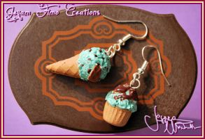 Mint and Chocolate - Earrings by Jeyam-PClay