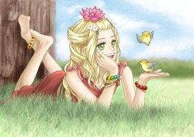 Girl singing to birds by maddrawings