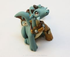 Light Blue Steampunk Dragon by LitefootsLilBestiary