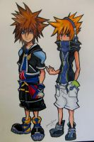 sora and neku by sinkholes666
